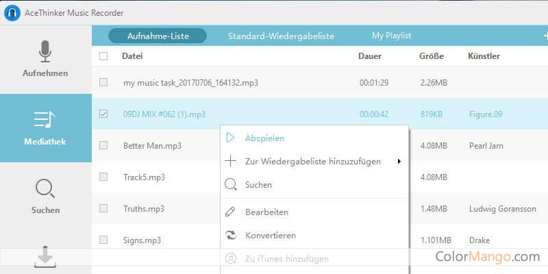 Acethinker Musik-Recorder Bildschirmfoto
