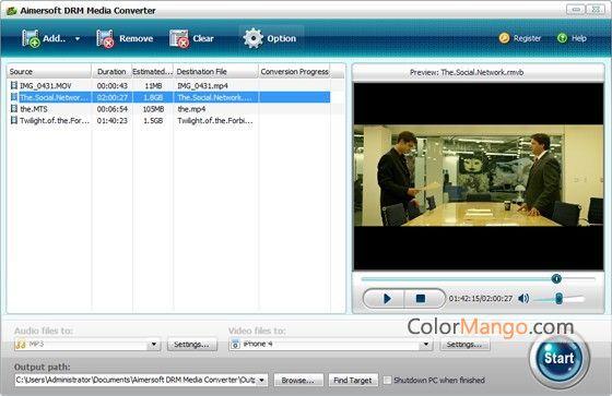 Aimersoft DRM Media Converter スクリーンショット