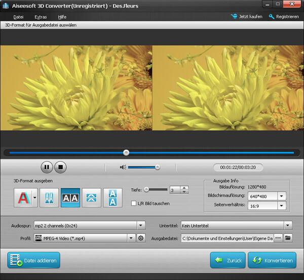 Aiseesoft 3D Converter Bildschirmfoto
