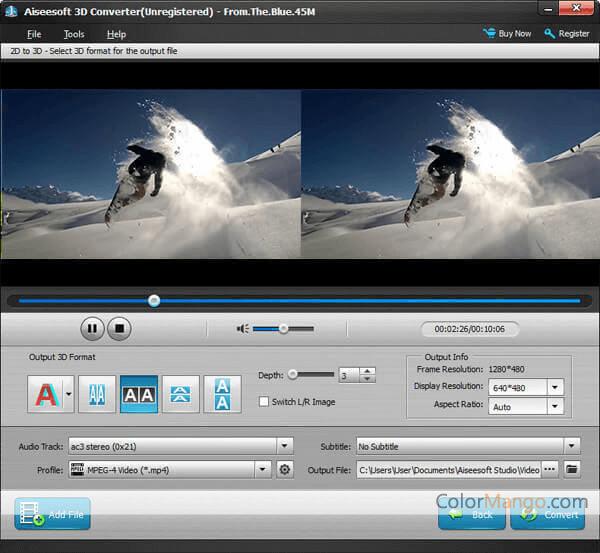 Aiseesoft 3D Converter Screenshot
