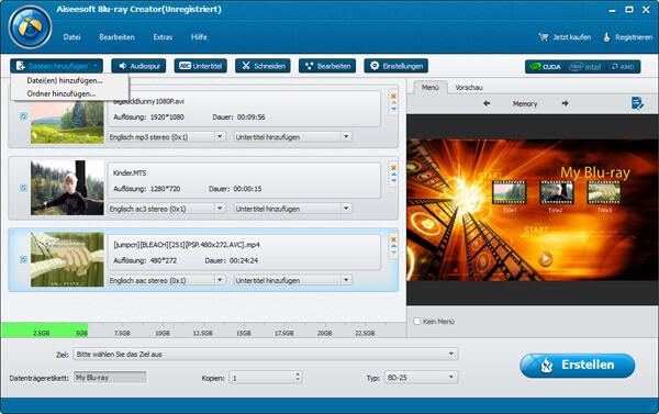 Aiseesoft Blu-ray Creator Bildschirmfoto