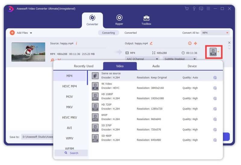 Aiseesoft Video Converter Ultimate Capture D'écran