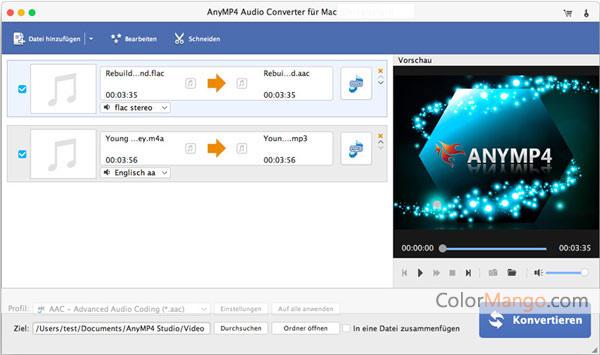 AnyMP4 Audio Converter für Mac Bildschirmfoto
