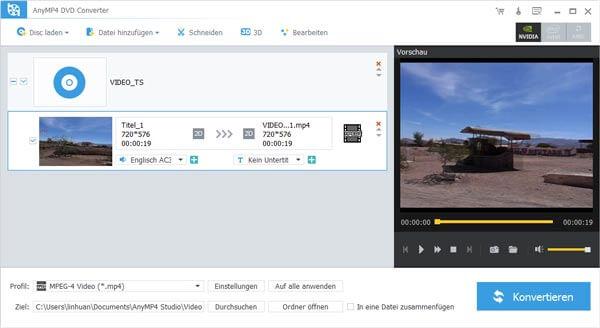 AnyMP4 DVD Converter Bildschirmfoto