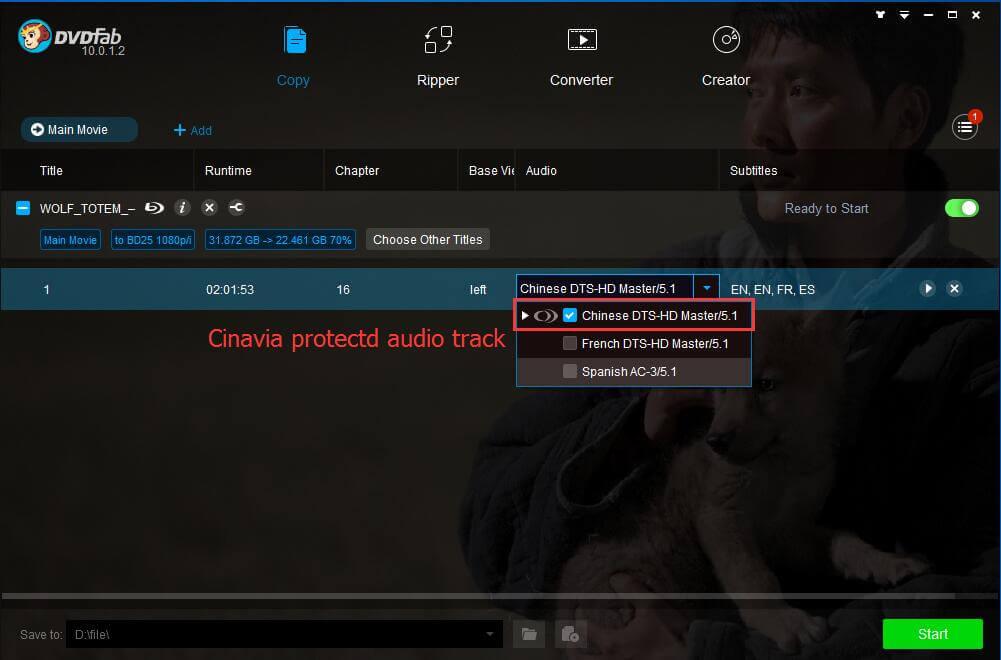 DVDFab Blu-ray Cinavia Removal Bildschirmfoto