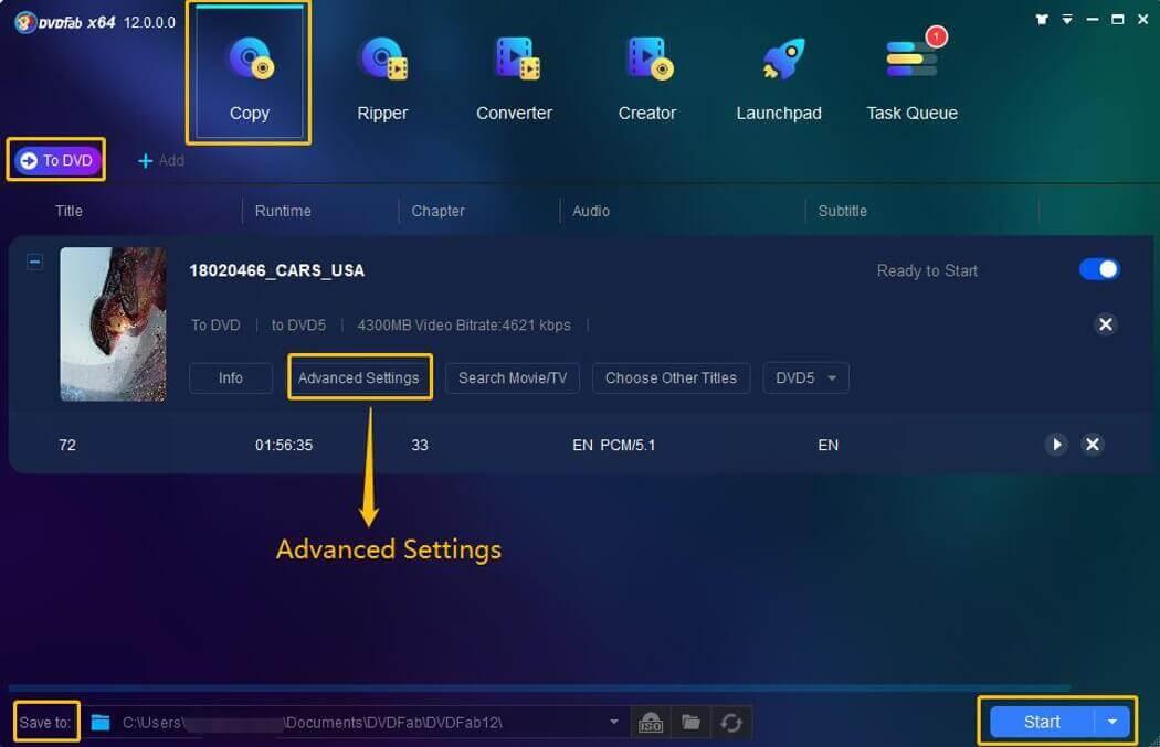 DVDFab Blu-ray to DVD Converter Bildschirmfoto