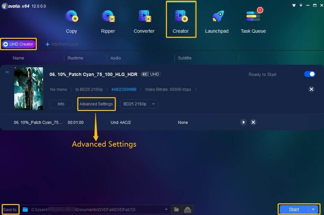 DVDFab UHD Creator Screenshot