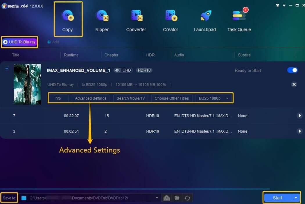 DVDFab UHD to Blu-ray Converter Screenshot