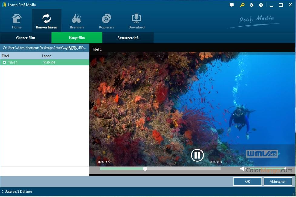 Leawo Video Converter Bildschirmfoto