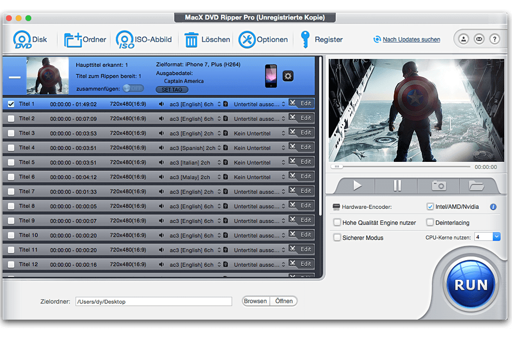 MacX DVD Ripper Pro Bildschirmfoto