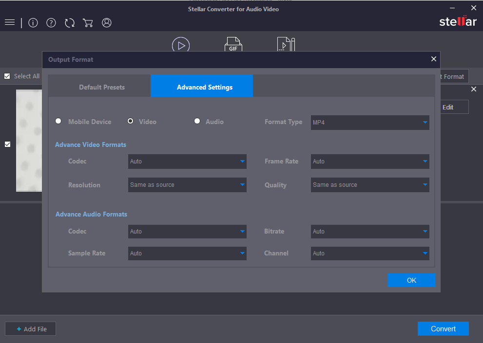 Stellar Converter for Audio Video Bildschirmfoto