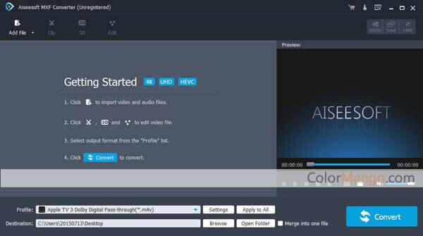 Aiseesoft MXF Converter Screenshot