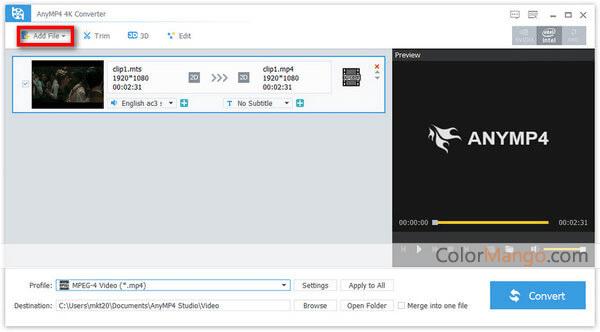 AnyMP4 4K Converter Screenshot