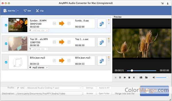 AnyMP4 Audio Converter for Mac Screenshot