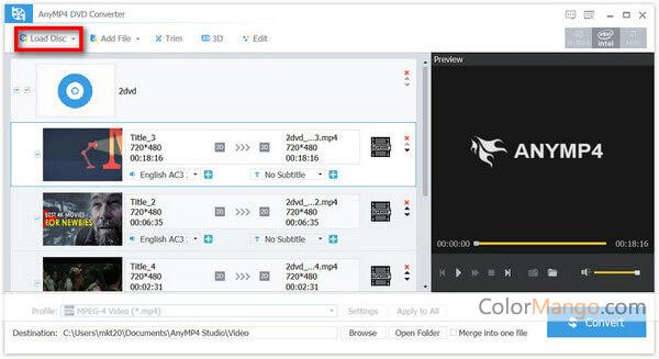 AnyMP4 DVD Converter Screenshot