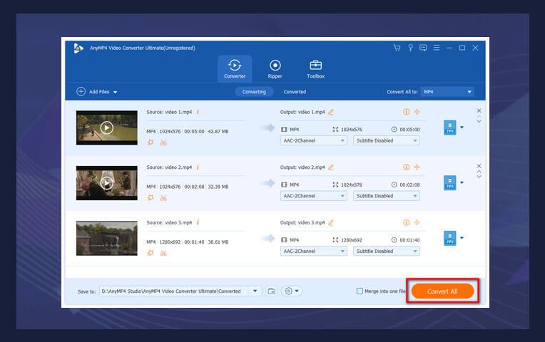 AnyMP4 Video Converter Ultimate Screenshot