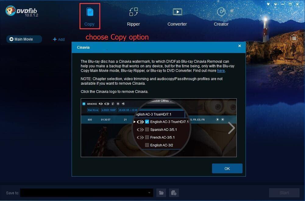 DVDFab Blu-ray Cinavia Removal Screenshot