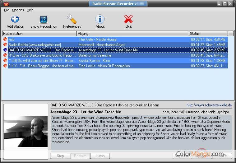GSA Radio Stream Recorder Screenshot