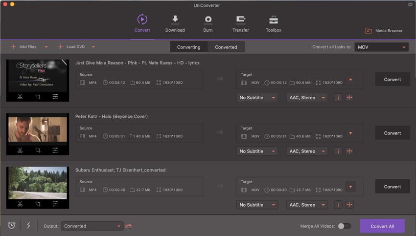 iSkysoft UniConverter Screenshot