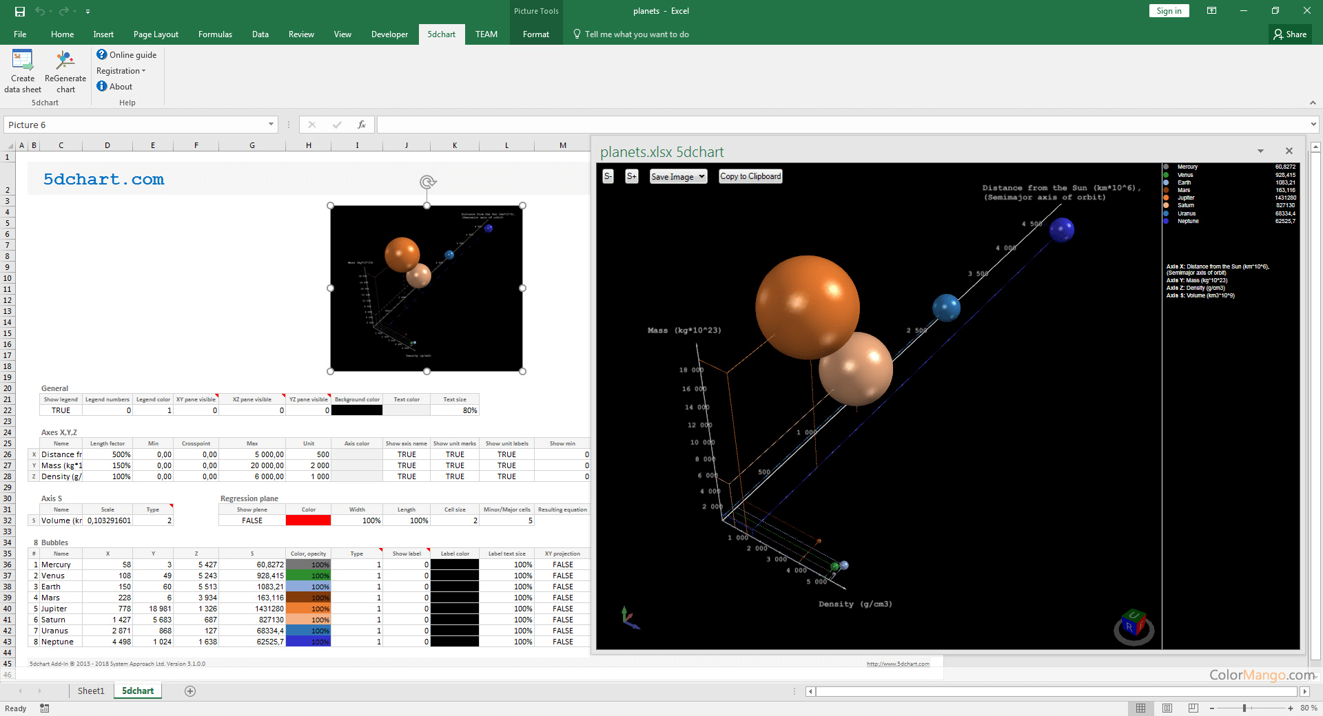 5dchart Add-In Screenshot