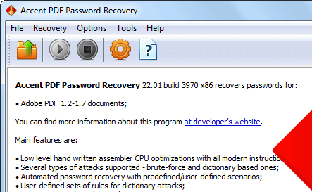 Accent PDF Password Recovery Screenshot