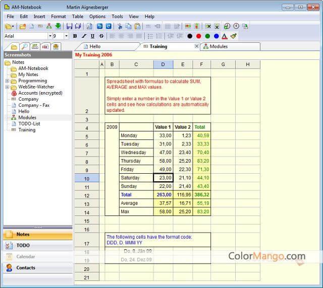 AM-Notebook PRO Bildschirmfoto