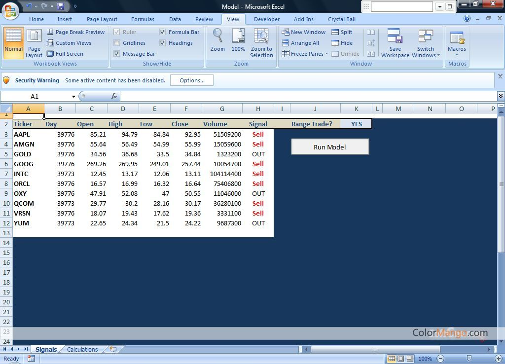 Stock trading system in excel