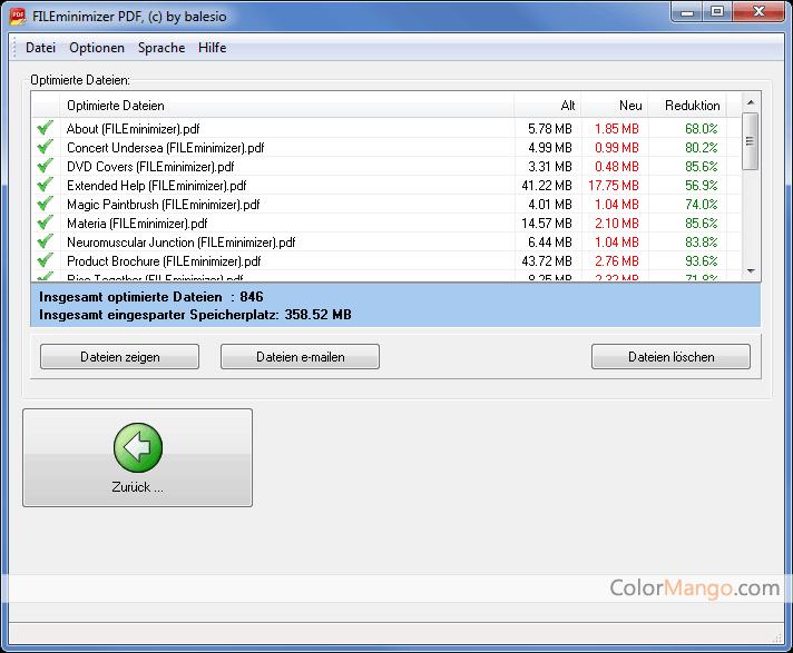 FILEminimizer PDF Bildschirmfoto
