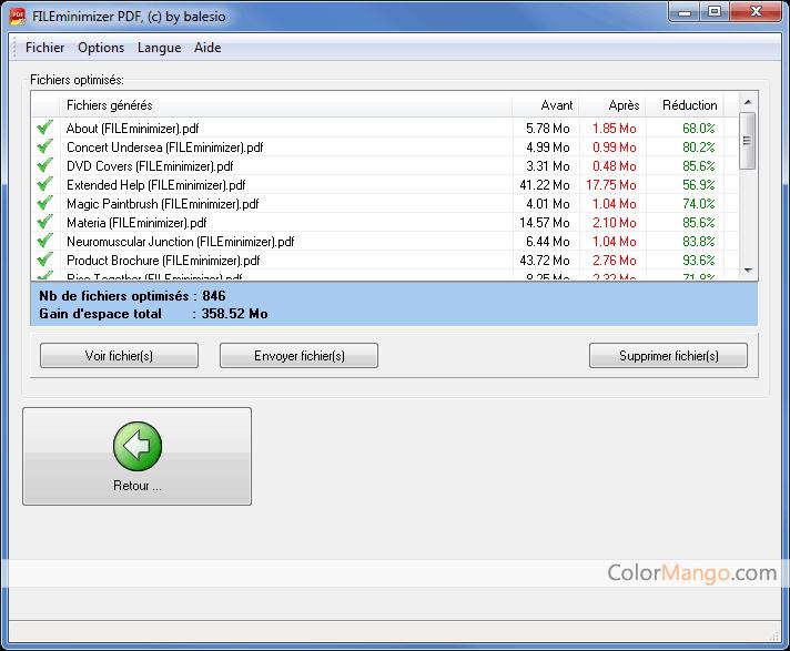 FILEminimizer PDF Capture D'écran