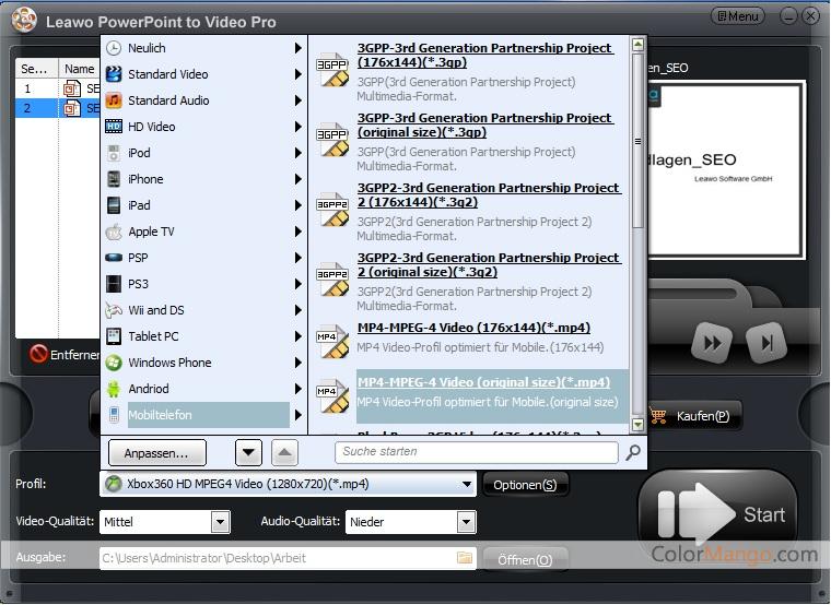 Leawo PowerPoint to Video Pro Bildschirmfoto