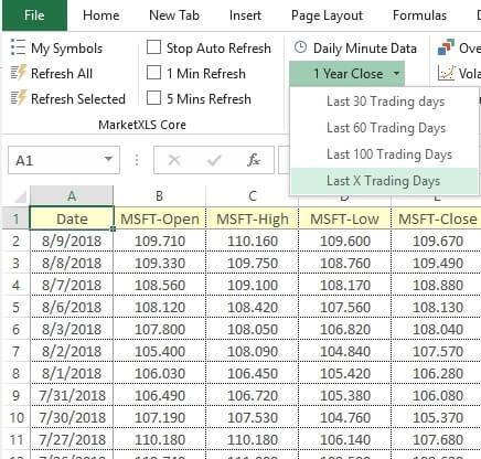 MarketXLS Screenshot