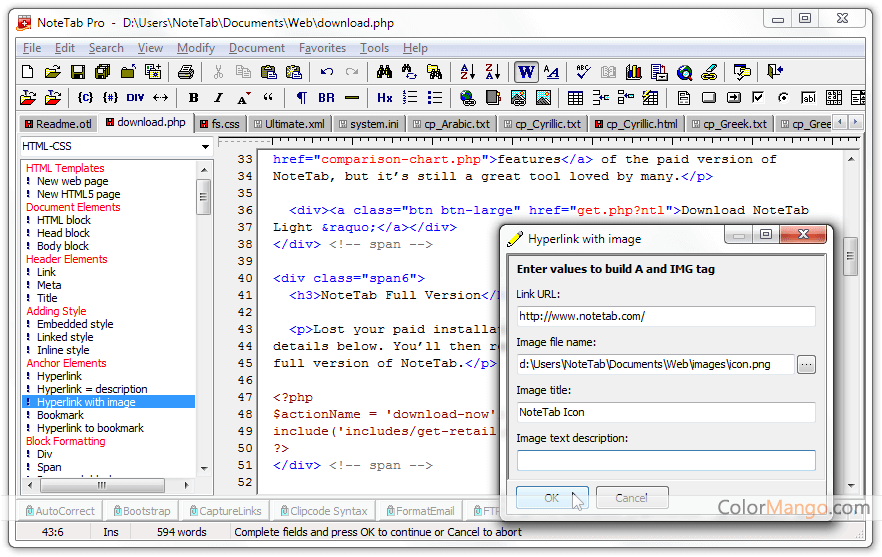 NoteTab Screenshot