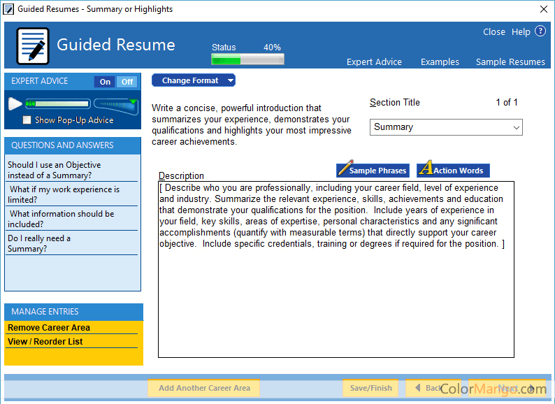 Wonderful ... ResumeMaker Professional Deluxe Screenshot ...  Resumemaker