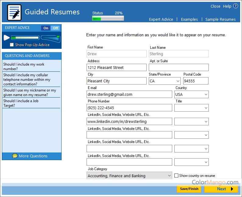 resumemaker professional deluxe screenshot