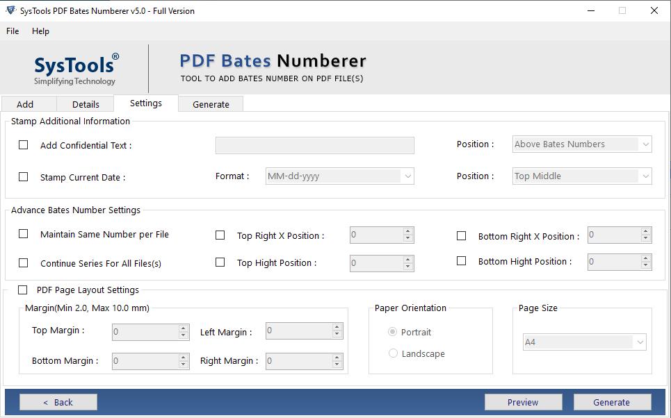 SysTools PDF Bates Numberer Screenshot