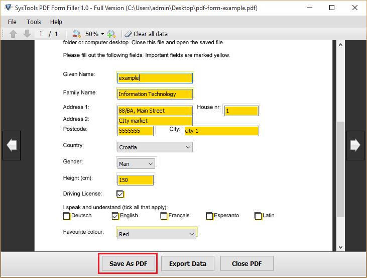 SysTools PDF Form Filler Screenshot
