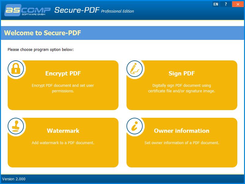 ASCOMP Secure-PDF Screenshot