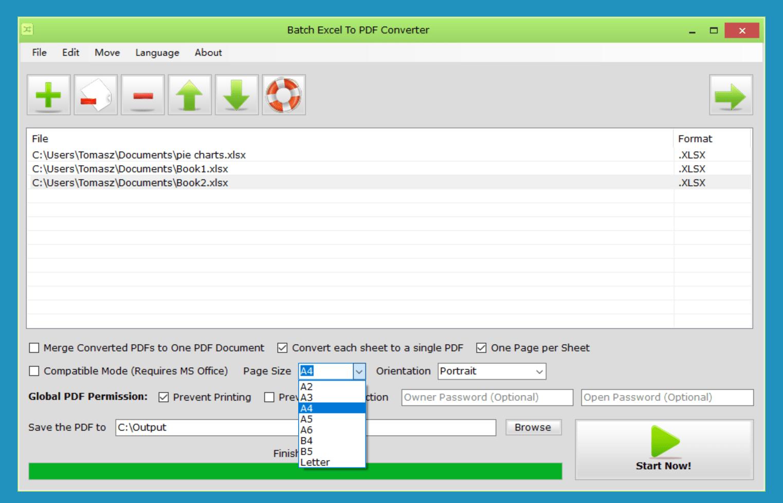 Batch Excel to PDF Converter Screenshot