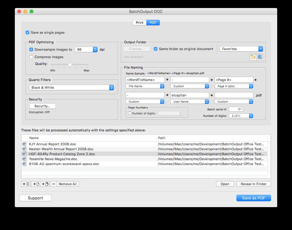 BatchOutput Office Suite Screenshot
