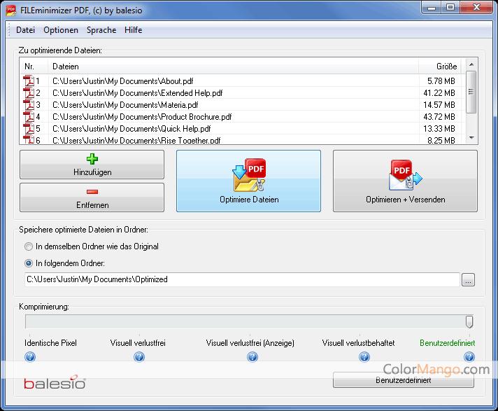 FILEminimizer PDF Screenshot