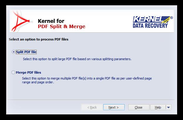Kernel for PDF Split and Merge Screenshot