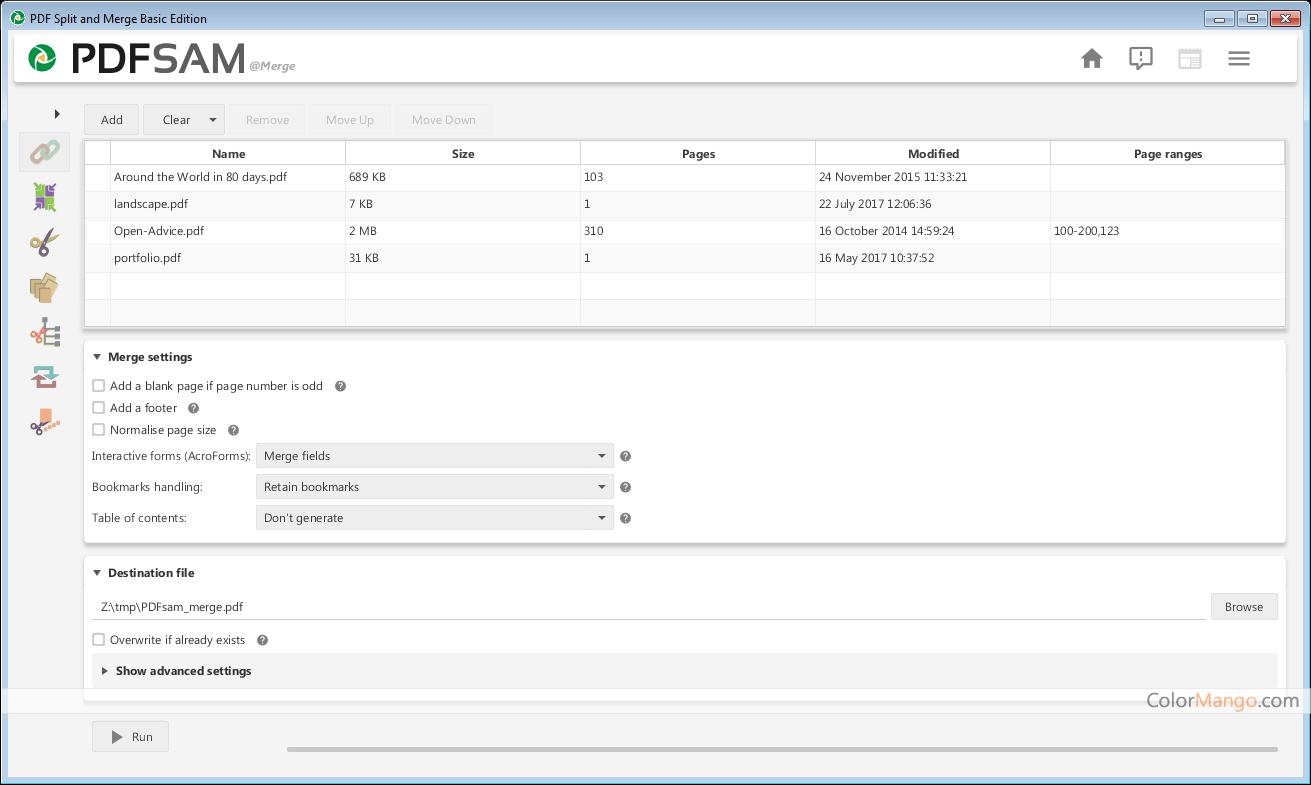 PDFsam Basic Screenshot