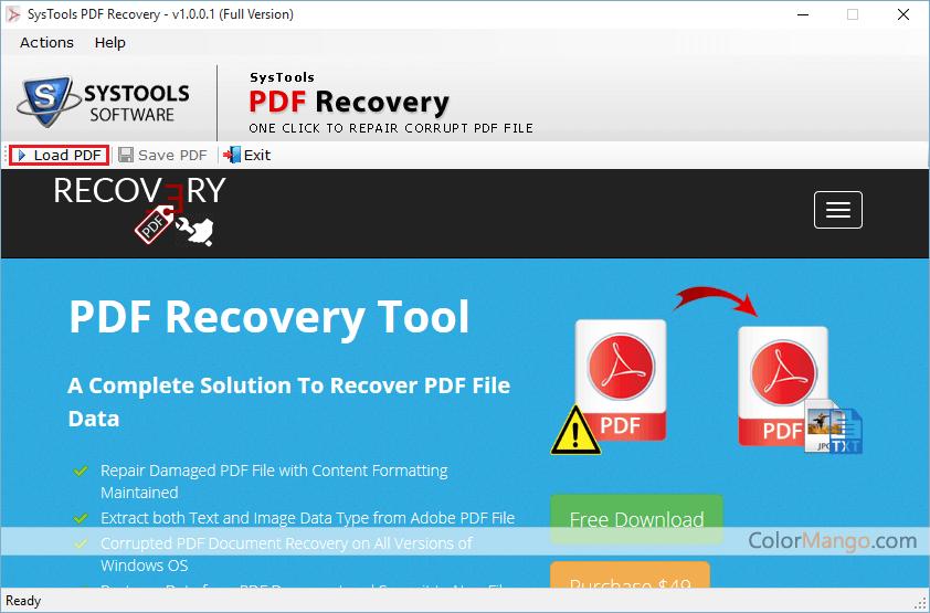 SysTools PDF Recovery Screenshot