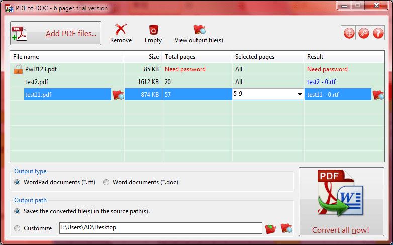 TriSunSoft PDF to DOC Screenshot
