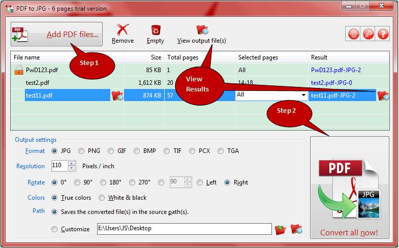TriSunSoft PDF to JPG Screenshot