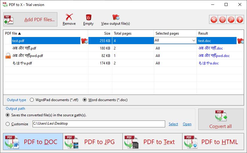 TriSunSoft PDF to X Screenshot