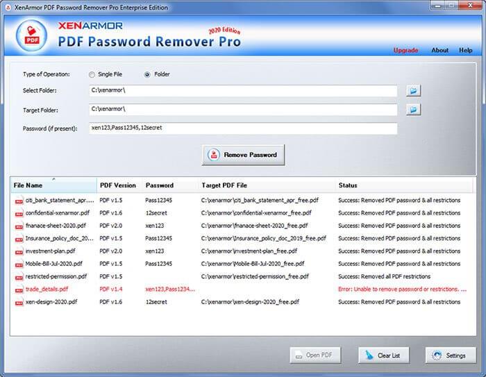 XenArmor PDF Password Remover Pro Screenshot