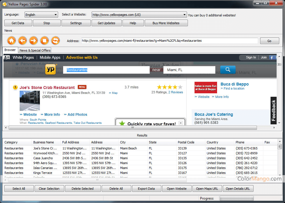 Yellow Pages Spider Screenshot
