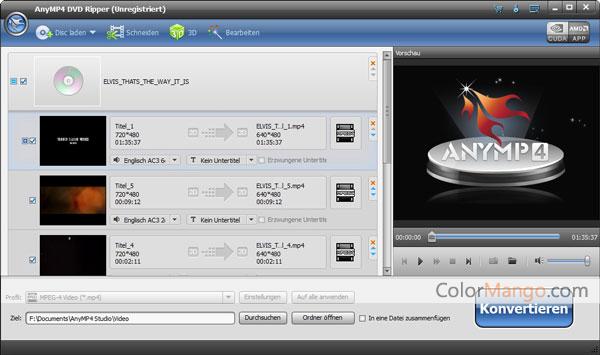 AnyMP4 DVD Ripper Bildschirmfoto
