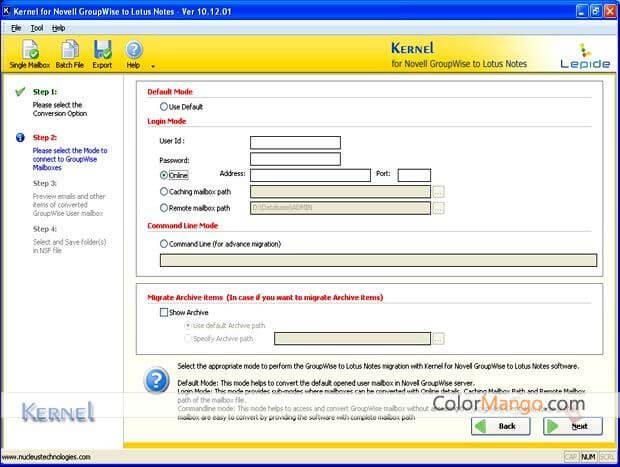 Kernel for GroupWise to Lotus Notes Bildschirmfoto